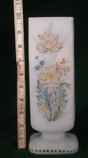 Hand Blown Bristol Glass Vase Frosted with Hand Painted Enamled Flowers Square