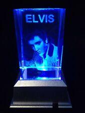 Elvis Presley- 3D laser crystal block with LED base