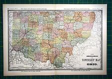 Ohio Township Rare Old Original 1887 Rand Mcnally Antique World Atlas State Map