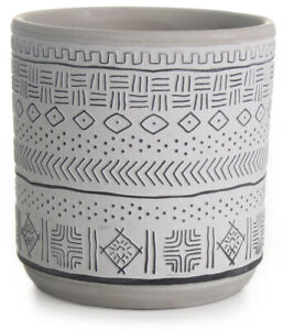 14cm Round Ceramic Flower Pot White & Black Aztec Design Planter Plant Pot