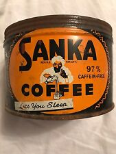 Vintage SANKA 1 LB. COFFEE TIN CAN GREAT GRAPHICS Food Advertising