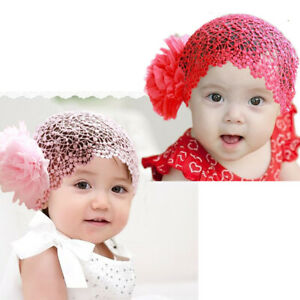 Girl Toddler grid Big hair net  red flower Headband Headwear Hair Band princess