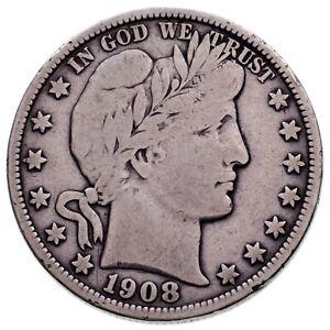 1908-O Barber 50C Half Dollar in Fine Condition, Light Gray Color