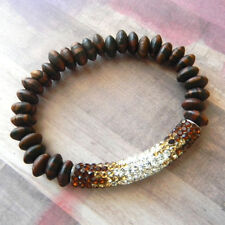 Gradient Brown Pave Ball Beaded Stretch Bracelet with Wood Round Beads