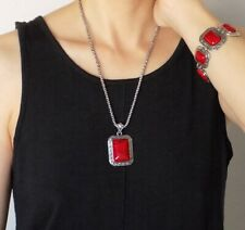 Lady Vintage Imitation Red Coral Fashion Necklace Bracelet Earrings