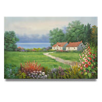 NY Art - House on the Prairie 24x36 Landscape Oil Painting on Canvas - Sale!