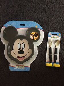 Disney Mickey Mouse Clubhouse Plate Set With 3 Clip in Pieces+Flatware cutlery