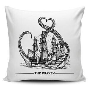 Vintage Kraken Illustration Novelty Gift Cushion Cover
