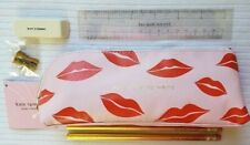 KATE SPADE LIPS PENCIL CASE COSMETIC BAG: NWT PINK W/LIPS
