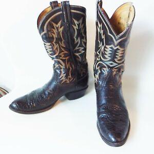 Vintage Exotic Leddy Tony Lama Gold Label Gator Belly Cowboy Western Boots 12D