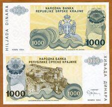 Croatia, Knin 1000 Dinara, 1994, Pick R30, No Serial Numbers, UNC