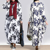 ZANZEA Women Casual Long Sleeve Maxi Kaftan Abaya Printed Vintage Floral Dress