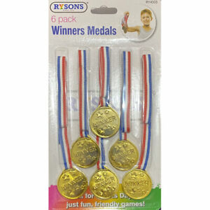 6 x Kids Winner Plastic Gold Winners Medals Awards Party Games Sports Prizes