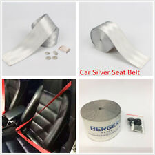 Universal Silver Auto Racing Harness Front 3 Point Safety Retractable Seat Belt