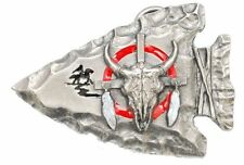 Color Pewter Arrow Head Belt Buckle With Cow Skull - Metal, Colored
