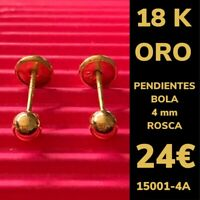 18K Pendientes Bola 4 mm Oro Amarillo 18 Kilates