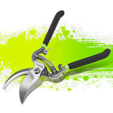 Green Black Vinyl Grip Heavy Duty Steel Blade Bypass Garden Pruners Cutting Tool