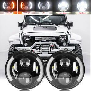 2PC 7 Inch Round LED Headlights Halo DRL For Jeep Wrangler JK TJ CJ LJ 1997-2018