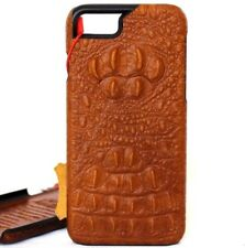 genuine leather hard Case for apple iphone 7 hard cover brown crocodile style uk