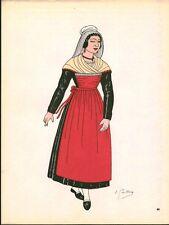 Gravure d'Emile Gallois costume des provinces françaises 1950 Touraine