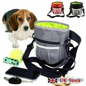 Dog Treat Bag w/ Poop Bag Holder Adjustable Belt Pet Walking Pouch Bowl Clicker