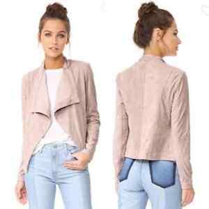 BB Dakota Nanette Faux Suede Drape Front Jacket Velvety Pink Cream Size S