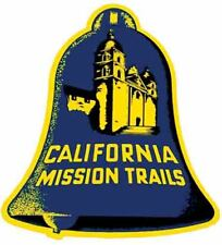 California Mission Trails Catholic Vintage 50's Style Travel Decal Label sticker