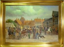 GEORG SKODSTRUP! CATTLE MARKET IN THE CITY. PERFECT LARGE OIL.