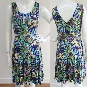 Cynthia Rowley Tropical Floral Print Stretch Jersey Skater Dress Size L 14 blue
