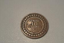TUNISIE 10 CENTIMES 1912  A CUIVRE peu commune