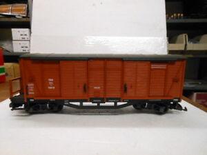 LGB G Scale 4063 Wood Box Car with Brakeman Hut #16818