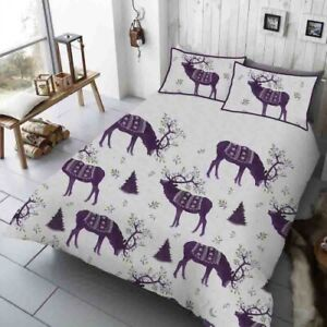 Double Bed Duvet Cover Set Winter Stag Purple Christmas Tree Festive Bedding