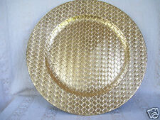 """Florentine Metallic Gold Leaf Bamboo Charger 13"""" Plate By Home Essentials"""