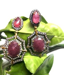 Natural Ruby Pave Diamond Earring 925 Sterling Silver Victorian Women Jewelry