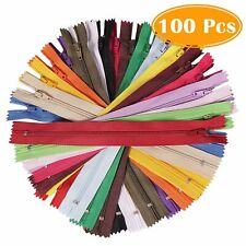 6023f81fb 100Pcs 9 Inch Assorted Colors Nylon Soft Coil Zippers Bulk for Sewing Crafts