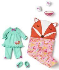 American Girl Wellie Wishers Sleepover Set (Fox Sleeping Bag, PJ's, Popcorn) NEW