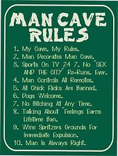 """Vintage retro style Man Cave Rules funny metal sign Metal wall door Sign 9""""x12"""""""