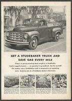STUDEBAKER TRUCKS.Save gas every mile - 1951 Vintage Automotive Print Ad