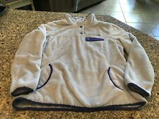 Free Country Fuzzy Soft Ladies Jacket Large Gray With Purple Trim