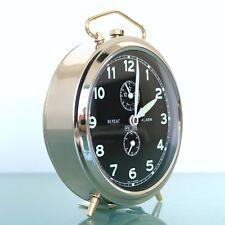 PETER Mantel Alarm Clock Repeat CHROME! BLACK DIAL!! Vintage Mid Century Germany