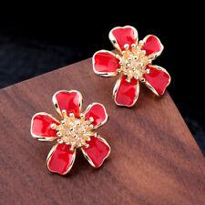 Red Enamel Flower  Women Elegant Fashion Earrings Drop Ear Stud Crystal Jewelry
