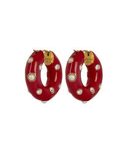 🏆 Celine Authentic Red small Byzantine Enamel Pearl Crystal Hoop earrings