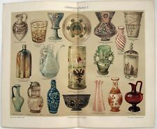 Art Glass - Original 1906 Chromolithograph by Meyers. Antique