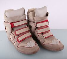 Isabel Marant Beige Red Suede Leather Bekett High Top Wedge Sneakers Size 41