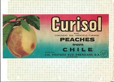 Label-CURISOL peaches,Chile.fruit.Frutera Sud-Americana original CL= melaneybuy
