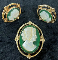 Amco Cameo Carved Pin Brooch Screw Back Earrings Vintage 14K Gold Filled Set