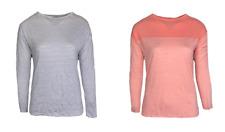 Ex Jack Wills Womens Striped Lightweight Long Sleeve Top Orange Navy Size (i37)