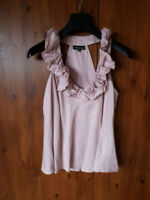 WAREHOUSE TOP BLOUSE Dusky Pink Ruched Neck Racer Back Cami Vest UK 10 / 38 VGC