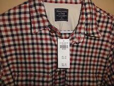 Abercrombie Men Plaid Winter Flannel Button Down Shirt Medium Slim Fit NWT FRESH