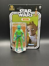 "STAR WARS THE BLACK SERIES LUCASFILM 50TH ANNIVERSARY GREEDO 6"" IN HAND"
